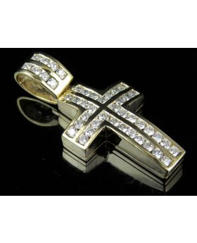 14K Yellow Gold Two Row Dome Cross Real Diamond Pendant 2.8ct