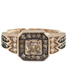 Brown Diamond Halo Ring in Rose Gold (0.68 Ct)