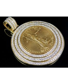 22K Yellow Gold Coin Lady Liberty 1/2 Ounce Pendant 5 Ct 2.25 Inch