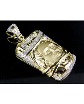 Mens 10K Yellow Gold Real Diamond 100 Dollar Bill Roll Stack Pendant 3/4 CT 1.9""