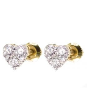 6mm Heart Earrings in Yellow Gold (0.50 ct)