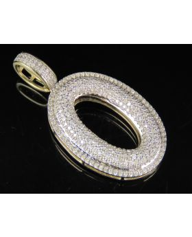 10K Yellow Gold Real Diamond Bubble Initial O Letter Pendant 0.85 CT 1.4""
