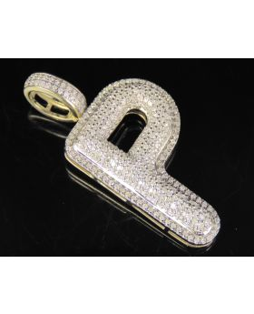 10K Yellow Gold Real Diamond Bubble Initial P Letter Pendant 0.75 CT 1.4""