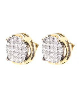 12mm Round Diamond Pave Earrings (1.0 ct)
