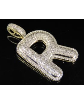 10K Yellow Gold Real Diamond Bubble Initial R Letter Pendant 1 CT 1.4""
