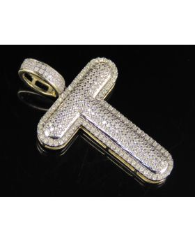 """10K Yellow Gold Real Diamond Bubble Initial T Letter Pendant 0.75 CT 1.5"""""""