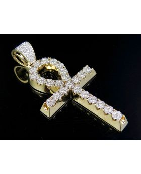 """Solid 10K Yellow Gold Cluster Egyptian Ankh Pendant 2.90 Ct 2.75"""""""