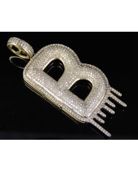 10K Yellow Gold Real Diamond Letter B Initial Drip Pendant 1.40 CT 2""
