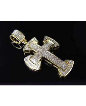 "10K Yellow Gold Genuine Diamond Iced Celtic Style Cross Pendant 1.5"" (0.50 ct)"