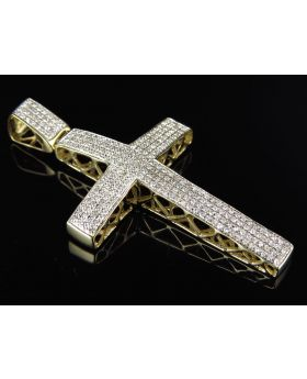 "Pave Diamond Cross in 10k Yellow Gold 2"" (.75 Ct)"