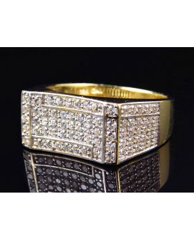 10K Yellow Gold Simulated Diamond Concave Design Fashion Pinky Ring 19MM