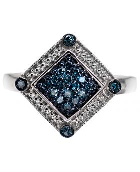 Cocktail Ring with Blue Diamonds (0.28 ct)