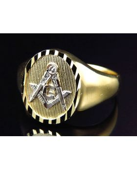 10K Yellow Gold Diamond Cut Masonic Design Fashion Pinky Ring 13MM