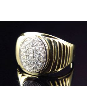 10K Yellow Gold Simulated Diamond Oval Design Fashion Pinky Ring 11MM