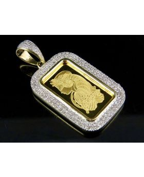 24K Yellow Gold Lady Fortuna Diamond Pendant 0.40 Ct 1.4""