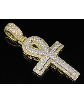 10K Two Tone Real Diamond Dome Ankh Cross Pendant 2.60 CT 2""