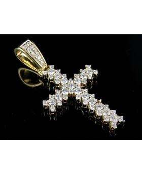 14K Yellow Gold Diamond Jagged Edge Solitaire Cross Pendant 1.33 Ct 1.6""