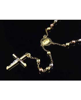 10K Multi Color Gold Diamond Cut Rosary Necklace 28""
