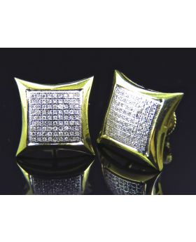 Puffed Pillow Kite Diamond Stud Earrings Finished In Yellow Gold (13MM .33ct)