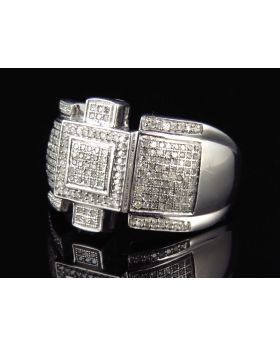 Sterling Silver Royal Style Genuine Diamond Mens Ring In White Gold Finish (0.75ct)