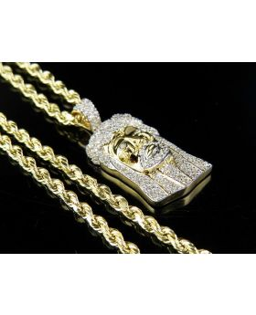 Solid Men's 10K Yellow Gold Diamond Jesus Pendant Chain Combo 0.65 CT