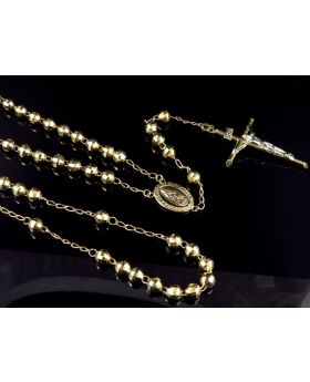 10K Yellow Gold Diamond Cut Beads 6 MM Rosary Necklace Chain 26+6 Inches
