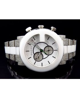 New Mens White Ceramic G Gucci Diamond Watch YA101345