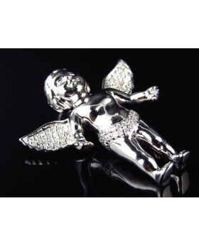 Solid 10K White Gold Genuine Diamond Angel Cherub Pendant ( .45Ct)