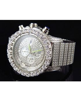 Ice Out Stainless Steel Simulated Diamond Watch White Gold Finish 48MM
