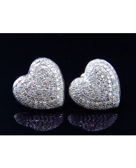 Ladies Pave Diamond Heart Earrings in 10K Yellow Gold (1.20 ct)