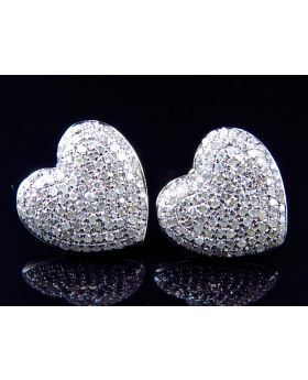 Ladies Pave Diamond Heart Earrings in 10K White Gold (1.20 ct)