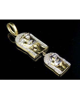 Men's 10K Yellow Gold Diamond Double Jesus Pendant 0.33 CT 2""