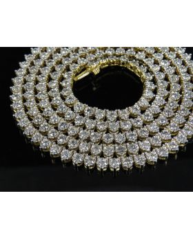 14K Yellow Gold Real Diamond Martini Prong Chain Necklace 10 ct