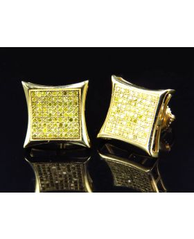 Genuine 10K Yellow Gold Canary Diamond Concave Style Earrings (0.75 ct)