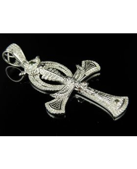 "10K White Gold Eye of Horus Eagle Ankh Cross Diamond 2.5"" Pendant Charm 1.52ct."