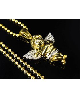Diamond Chubby Angel Pendant in Yellow Gold Finish with Chain (0.10ct)