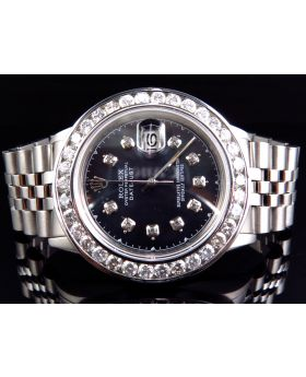 Rolex Datejust Stainless Steel with Black Pearl Dial Diamond Watch (5.50 Ct)