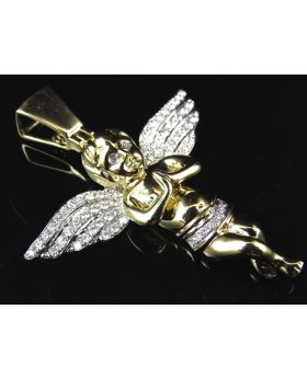 Solid 10K Yellow Gold Genuine Diamond Angel Cherub Pendant ( 1.0Ct)