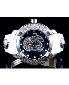 Mens White Jesus Aqua Master Joe Rodeo Jojo Diamond Jesus Watch 45MM0.45 ct