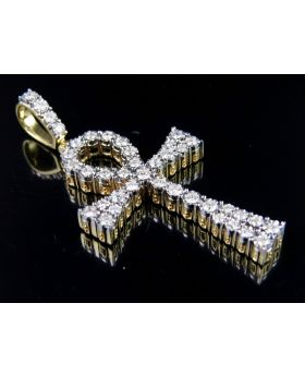 "10K Yellow Gold Ankh Cross Diamond 2"" Pendant Charm 1.45 ct."