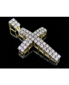 Real 10K Yellow Gold Diamond Two Row Dome Cross Pendant 1.25 CT 1.75""