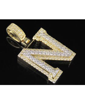 10K Yellow White Gold Diamond Custom 3D Initial N Letter Pendant 1.8 CT 1.5""