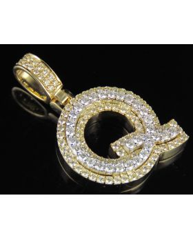10K Yellow White Gold Real Diamond Custom 3D Initial Q Letter Pendant 1.8 CT 1.5""