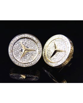 10K Yellow Gold Pave Set Genuine Diamond Bezel Foreign Logo Earrings 17MM (1.0 Ct)