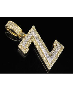 10K Yellow White Gold Diamond Custom 3D Initial Z Letter Pendant 1.5 CT 1.5""