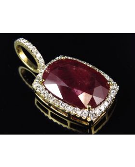 Custom Genuine Natural Ruby Pendant with Diamond Bezel (31.5 ct)