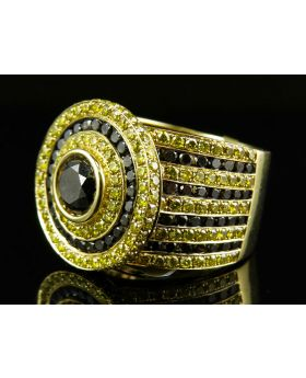 Mens Canary/Black Diamond Solitaire Pinky Ring (8.45 Ct)