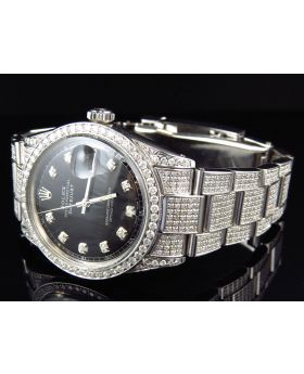 Rolex Datejust Oyster Full Iced with Black Dial Diamond Watch (8.5 Ct)
