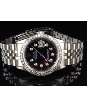 Rolex Datejust Oyster Quickset Black Dial Diamond Watch (3.0 Ct)