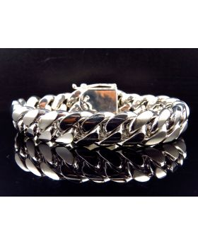 Solid Miami Cuban Link Bracelet in 10K White Gold 15.5MM